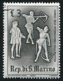 Crossbow contest San Marino. SAN MARINO - CIRCA 1963: stamp printed by San Marino, shows Crossbow contest, circa 1963 Royalty Free Stock Photos