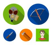 Crossbow, gas mask, ax, combat knife. Weapons set collection icons in flat style vector symbol stock illustration web. Crossbow, gas mask, ax, combat knife Royalty Free Stock Photo