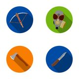 Crossbow, gas mask, ax, combat knife. Weapons set collection icons in flat style vector symbol stock illustration web. Crossbow, gas mask, ax, combat knife Stock Images