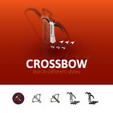 Crossbow icon in different style. Crossbow color icon, vector symbol in flat, outline and isometric style isolated on blur background Stock Photos
