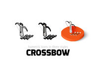 Crossbow icon in different style. Crossbow icon, vector symbol in flat, outline and isometric style Stock Photography