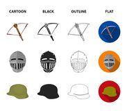 Crossbow, medieval helmet, soldier helmet, hand grenade. Weapons set collection icons in cartoon,black,outline,flat. Style vector symbol stock illustration Stock Photos