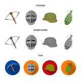 Crossbow, medieval helmet, soldier helmet, hand grenade. Weapons set collection icons in cartoon,flat,monochrome style. Vector symbol stock illustration Stock Image
