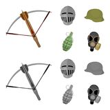 Crossbow, medieval helmet, soldier helmet, hand grenade. Weapons set collection icons in cartoon,monochrome style vector. Symbol stock illustration Royalty Free Stock Photography