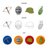 Crossbow, medieval helmet, soldier helmet, hand grenade. Weapons set collection icons in cartoon,outline,flat style. Vector symbol stock illustration Royalty Free Stock Images