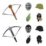Crossbow, medieval helmet, soldier`s helmet, hand grenade. Weapons set collection icons in cartoon,black style vector. Symbol stock illustration Stock Photos