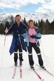 Crosscountry skiing with seniors Stock Image