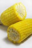 Crosscut corn. Yellow corn that crosscut on white floor Stock Photo