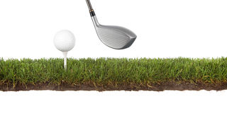 Crosscut green with golfball. Cross section of grass with golf ball on tee Royalty Free Stock Photo