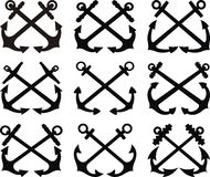 Crossed anchor set Stock Photos