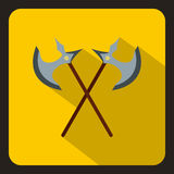 Crossed ancient battle axes icon, flat style. Crossed ancient battle axes icon in flat style on a white background vector illustration Royalty Free Illustration