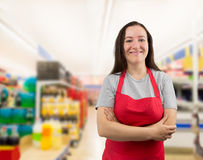Crossed arms at the supermarket Stock Photography