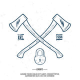 Crossed Axes with Padlock vector t-shirt print. Illustration Stock Photography