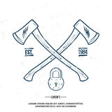 Crossed Axes with Padlock vector t-shirt print. Illustration Royalty Free Stock Photo