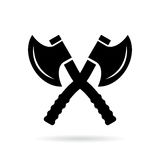 Crossed axes vector icon, military emblem Stock Image