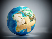 Crossed band-aids on Earth. 3D illustration Stock Image