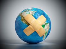 Crossed band-aids on Earth. 3D illustration Royalty Free Stock Photo