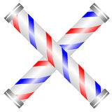 Crossed barber poles Royalty Free Stock Image
