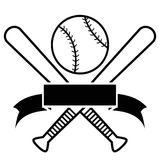 Crossed Baseball Bats And Ball with banner Stock Images