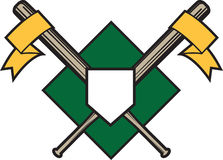 Crossed Bats Emblem. Two crossed baseball bats with banners and home plate Stock Photography