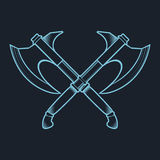Crossed Battle Axes isolated on white background vector Stock Image