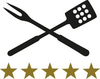 Crossed BBQ fork and spatula with five stars. Vector royalty free illustration
