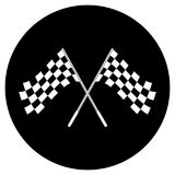 Crossed black and white checkered flags logo conceptual of motor sport, isolated on white Royalty Free Stock Photos