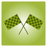 Crossed black and white checkered flags logo conceptual of motor sport,  on white. Crossed waving black and green checkered flags logo conceptual of motor sport Stock Image