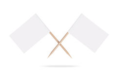 Crossed blank white flags.Isolated. Royalty Free Stock Image