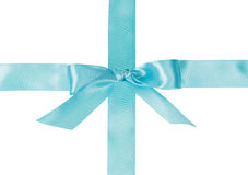 Crossed blue ribbon with a bow Royalty Free Stock Photo