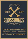 Crossed Bones Vector Halloween Party Abstract Vintage Poster, Card or Flyer. Dark Colodrs and Retro Typography with stock illustration