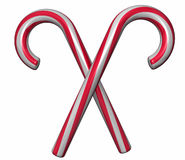 Crossed candy canes. A pair of red and white crossed candy canes isolated on white Stock Illustration