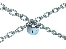 Crossed chains with lock Royalty Free Stock Photography