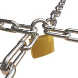 Crossed chains with lock. Another illustration of security and reliability Stock Photos