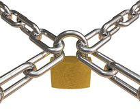 Crossed chains with padlock Stock Image