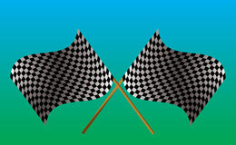 Crossed checkered flag. Illustrated checkered flag on a green and blue background Royalty Free Stock Photos