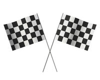 Winners crossed checkered flags. Crossed checkered flags isolated on white background Stock Photos
