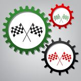 Crossed checkered flags logo waving in the wind conceptual of mo vector illustration