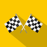 Crossed chequered flags icon, flat style. Crossed chequered flags icon. Flat illustration of crossed chequered flags vector icon for web isolated on yellow Stock Photography