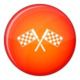 Crossed chequered flags icon, flat style Royalty Free Stock Photos