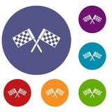 Crossed chequered flags icons set Stock Photos