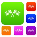 Crossed chequered flags set collection Royalty Free Stock Images