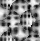 Crossed Circles 3D Halftone Abstract Vector Seamless Pattern. Crossed Circles 3D Halftone Black and White Abstract Stars Geometric Vector Seamless Pattern Royalty Free Stock Images