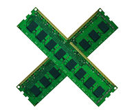 Crossed computer memory board isolated on white Stock Image