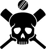 Crossed cricket bats with skull Stock Images