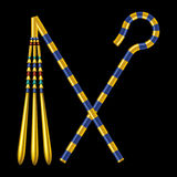 Crossed Crook And Flail Of Ancient Egypt Pharaohs. Crossed Crook And Flail, originally the attributes of the god Osiris that became insignia of pharaonic Stock Image