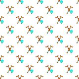 Crossed crutches and shield pattern, cartoon style. Crossed crutches and sky blue shield pattern. Cartoon illustration of crossed crutches and shield vector Stock Image