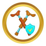 Crossed crutches and sky blue shield vector icon Royalty Free Stock Photos