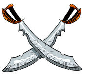 Crossed cutlass pirate sword. Vector illustration for tattoo or t-shirt design Stock Images