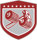 Crossed Dumbbell and Sledgehammer Shield Retro Royalty Free Stock Photo